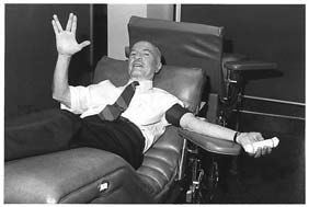 Photo of Robert Heinlein donating blood.